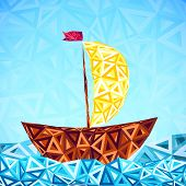 Abstract triangles pattern vector simple boat. This is file of EPS10 format. poster