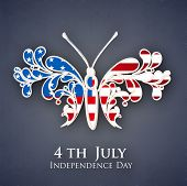 Beautiful butterfly in American national flag colors concept for 4th of July Independence Day on grey background. poster