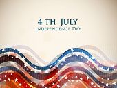 4th of July, American Independence Day colorful waves background in national flag colors. poster
