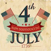Vintage flyer, poster or background for  American Independence day with text 4th July 1776. poster