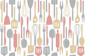 Illustration of kitchen utensils and cutlery seamless pattern poster