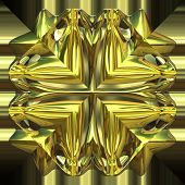 Computer generated illustration of shiny gold ornament closeup view poster