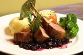 rack of lamb with a blueberry compote poster