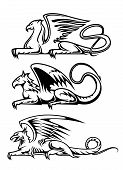 Medieval gryphons set for tattoo, mascot or heraldry design poster