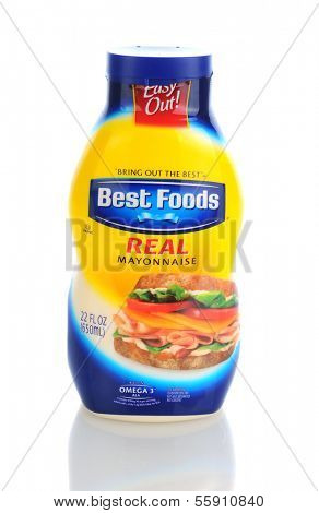 IRVINE, CA - JANUARY 11, 2013: A 22 oz plastic bottle of Best Foods Mayonnaise. Best Foods and Hellmann's are brand names used for the same line of mayonnaise owned by CPC International Inc.