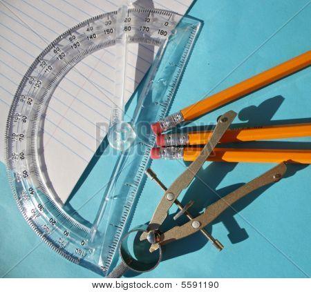 Compass, Protractor & Pencils