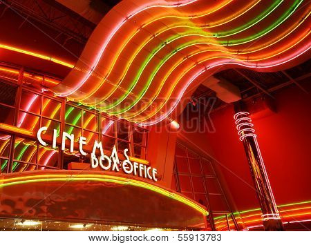 Neon Sign At Movie Theater