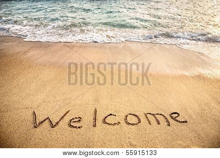 Welcome Word On The Sand
