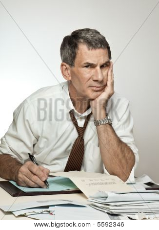 Worried Unhappy Man Paying Bills