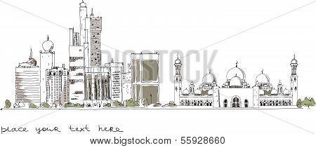 United Arab Emirates artistic sketch background