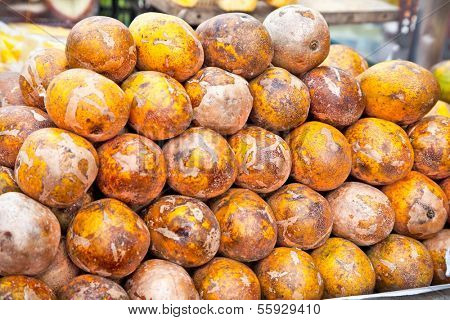 Barracuda goden mango on the market in Saigon, Vietnam.