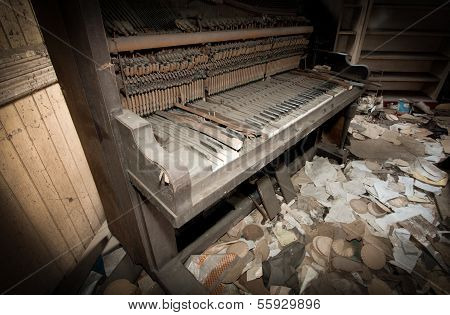 Piano In Trashed Room