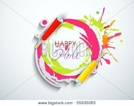 Indian festival Happy Holi celebration concept with colors splash and stylish text on grey background.