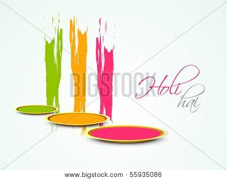 Indian festival Happy Holi celebration concept with colors and stylish text Holi hai.