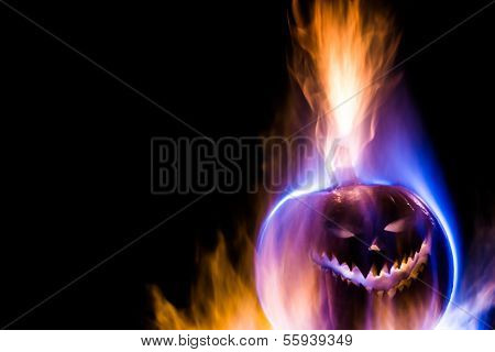 Colorful flaming Jack-o-Lantern