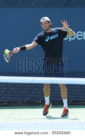 Professional tennis player Tommy Haas from Germany  practices for US Open 2013