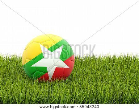 Football With Flag Of Myanmar