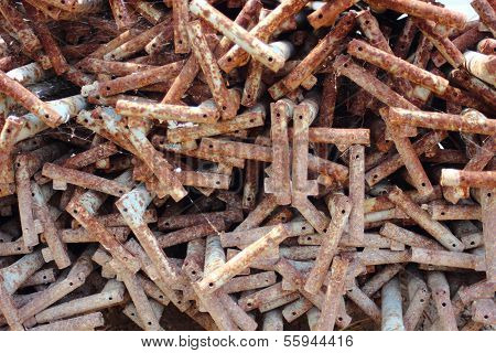Rusty Metal Spikes For Constrction Moulding
