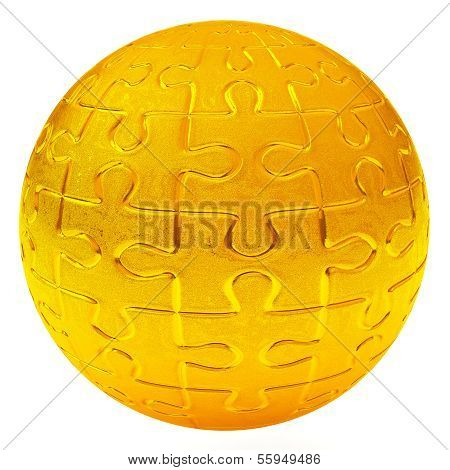 Gold puzzle ball, 3d