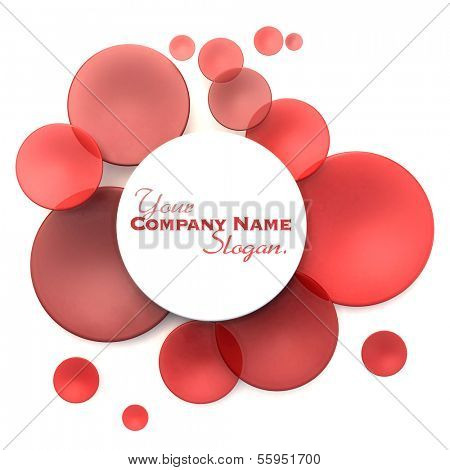 Abstract background with white and red transparent disks