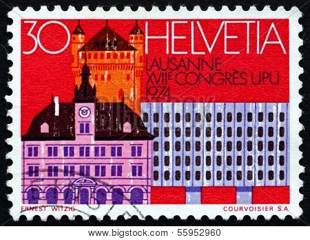 Postage Stamp Switzerland 1974 Old Houses, Bern