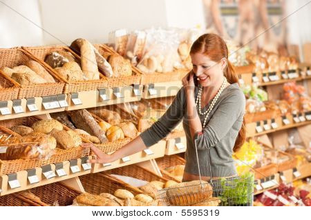 Grocery Store: Red Hair Woman With Mobile Phone