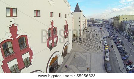 MOSCOW, RUSSIA - NOV 09, 2013: (view from unmanned quadrocopter) Kazansky railway station at sunny day. Station building was built in years 1862-1864.