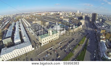 MOSCOW, RUSSIA - NOV 09, 2013: (view from unmanned quadrocopter) Komsomolskaya Square at sunny day. Three railway stations Leningradsky, Yaroslavsky and Kazansky are on Komsomolskaya Square.