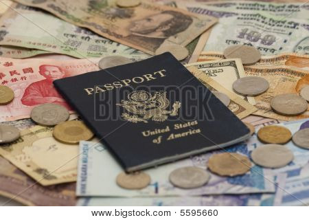 Passport With Foreign Money And Shallow Depth Of Field