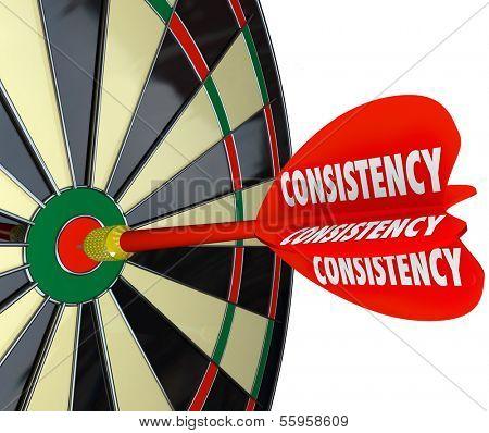Consistency Dart Board Repeat Reliable Dependable Score Aim