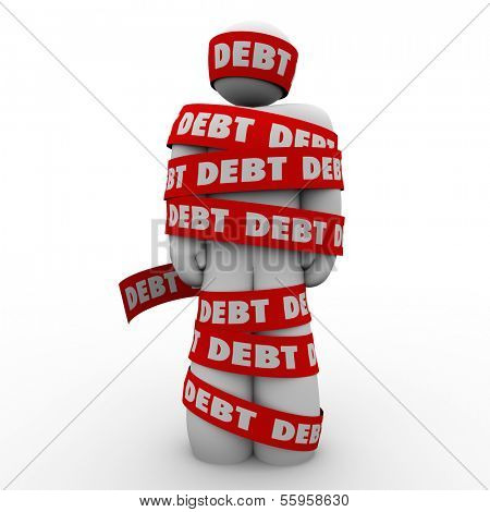 Debt Man Wrapped Tape Budget Deficit Problem