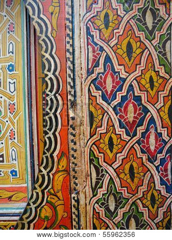 Partial view of traditional painted Moroccan door