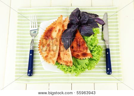Tasty chebureks with fresh herbs on plate,on  color wooden background poster