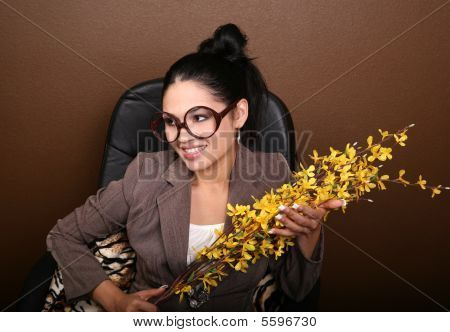 Woman Smiling With Flowers