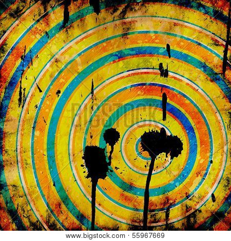 grunge colorful target with shots and stains poster