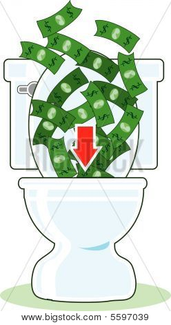 Money Down Toilet