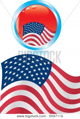 American Flag And Glossy Button