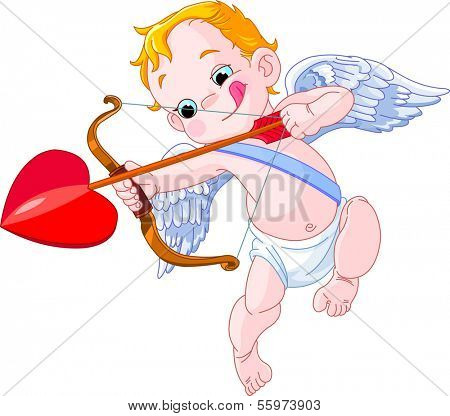 Valentines Day Cupid ready to shoot his arrow. Raster version.