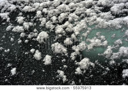 Background of snow covered car