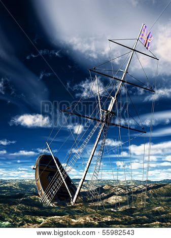 Sinking pirate brigantine on stormy seas