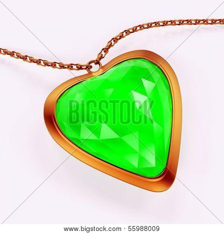 Emerald gem stone jewellry over white background poster