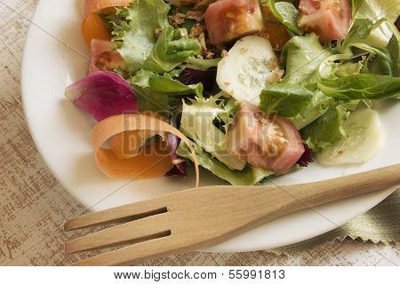 Fresh Salad Greens, Wooden Fork