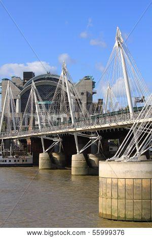 Hungerford Bridge And Golden Jubilee Bridges In London