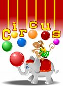 circus performers - monkey with balls and elephant vector poster
