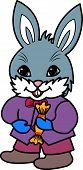 Cartoon Easter bunny gray rabbit with candy poster