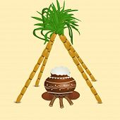 Happy Pongal, harvest festival celebration in South India with pongal rice in a traditional mud pot and sugarcane's on abstract  background.  poster