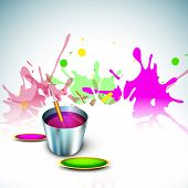 Indian festival Happy Holi celebration concept, bucket with full of colors, pichkari on colors splash background.  poster