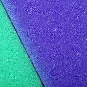 Violet green texture cellulose foam sponge background. Square format poster