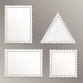 Vector set of blank postage stamps isolated on grey background. poster