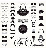 Hipster Black and White Retro Vintage Vector Icon Set, Mustaches, Hats, Badges, Labels, Bicycle Collection poster